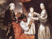 REYNOLDS, Sir Joshua George Clive and his Family with an Indian Maid oil
