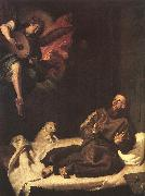 RIBALTA, Francisco St Francis Comforted by an Angel oil