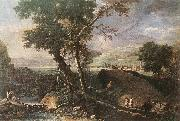RICCI, Marco Landscape with River and Figures df oil