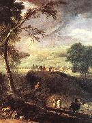 RICCI, Marco Landscape with River and Figures (detail) oil