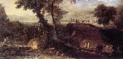 RICCI, Marco Landscape with Washerwomen fdu oil
