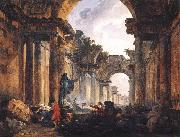 ROBERT, Hubert Imaginary View of the Grande Galerie in the Louvre in Ruins AG oil
