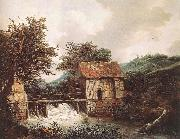 RUISDAEL, Jacob Isaackszon van Two Watermills and an Open Sluice near Singraven oil