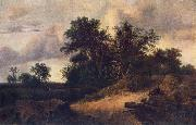 RUISDAEL, Jacob Isaackszon van Landscape with a House in the Grove at oil
