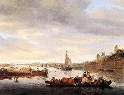 RUYSDAEL, Salomon van The Crossing at Nimwegen af oil