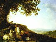 SAFTLEVEN, Cornelis Hunter Sleeping on a Hillside sg oil on canvas