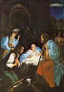 SARACENI, Carlo The Birth of Christ  f oil on canvas