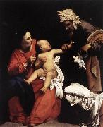 SARACENI, Carlo Madonna and Child with St Anne dt oil on canvas
