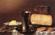 SCHOOTEN, Floris Gerritsz. van Still-life with Glass, Cheese, Butter and Cake A oil