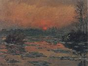 Claude Monet Sunset on the Seine in Winter oil painting reproduction