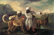 Edvard Munch Cheetah and Stag with two indians oil painting reproduction