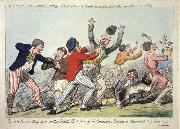 Isaac Cruikshank Lord Howe they run or The British Tars giving the Carmignols a Dressing on the Memorable 1st of June 1794 oil on canvas