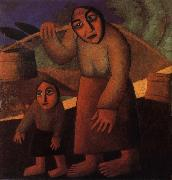 Kasimir Malevich The Woman and child Pick up the water pail oil painting reproduction