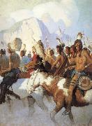 NC Wyeth An Indian War Party oil on canvas