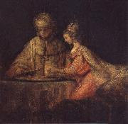 REMBRANDT Harmenszoon van Rijn Haman,Esther and Ahasuerus painting