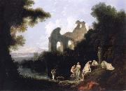 unknow artist Landscape,Ruins and Figure oil painting reproduction