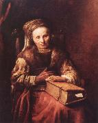 Carel Van der Pluym Old woman with a book oil on canvas