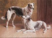 Carl Reichert Hounds in an Interior painting