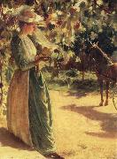 Charles Courtney Curran Woman with a horse oil on canvas