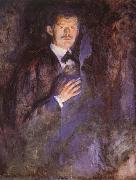 Edvard Munch Holding a cigarette of Self-Portrait painting