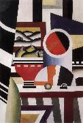 Fernard Leger The Still life having fruit dish oil on canvas