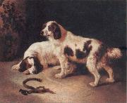 George Horlor Brittany Spaniels oil on canvas