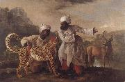 George Stubbs Cheetah and Stag with Two Indians oil painting reproduction