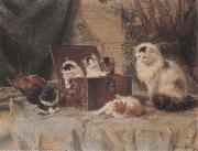 Henriette Ronner At Play oil