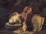 Henriette Ronner Cat,book and fiddle oil