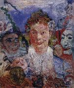James Ensor Old Woman with Masks painting