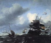 Ludolf Backhuysen Seascape with Ships oil on canvas