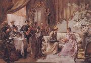 Madeleine Lemaire Tea at the Hotel de Ville oil painting reproduction