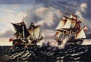 Thomas Chambers Capture of H.B.M.Frigate Macedonian by U.S.Frigate United States oil on canvas