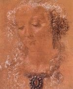 Andrea del Verrocchio Halfte second women head painting