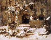 Carl Friedrich Lessing Monastery Courtyard in the Snow oil on canvas