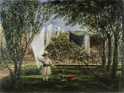 Charles Robert Leslie Child in a Garden with His Little Horse and Cart oil on canvas