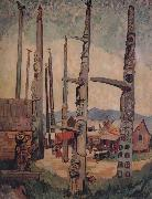 Emily Carr Totem Poles,Kitsukla oil on canvas