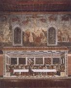 Francesco del Castagno Last supper and above resurrection oil on canvas