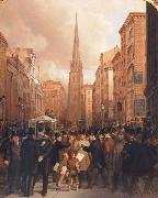 James H. Cafferty Wall Street oil on canvas