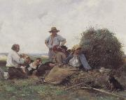Julien  Dupre Harvesters At Rest painting