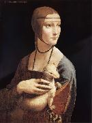 LEONARDO da Vinci Lady with the ermine oil painting reproduction
