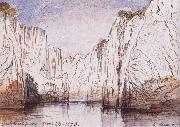 Lear, Edward The Rocks of the Narbada River at Bheraghat Jubbulpore oil on canvas