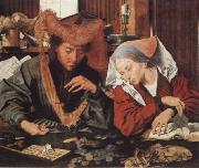 Marinus van Reymerswaele Money-changer and his wife oil