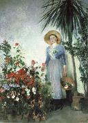 Olga Boznanska In the Hothouse oil painting reproduction