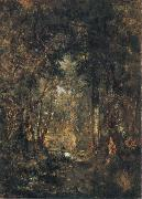 Theodore Rousseau In the Wood at Fontainebleau oil painting artist
