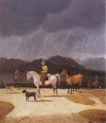 Wilhelm von Kobell Riders at the Tegernsee oil on canvas