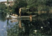 William Stott of Oldham The Bathing Place oil painting
