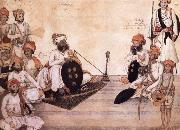 unknow artist Thakur Daulat Singh,His Minister,His Nephew and Others in a Council china oil painting reproduction