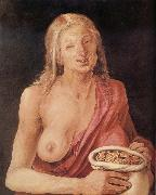 Albrecht Durer Old woman with Bag of coins painting