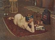 Bernard Hall Nude Reading at studio fire oil painting reproduction